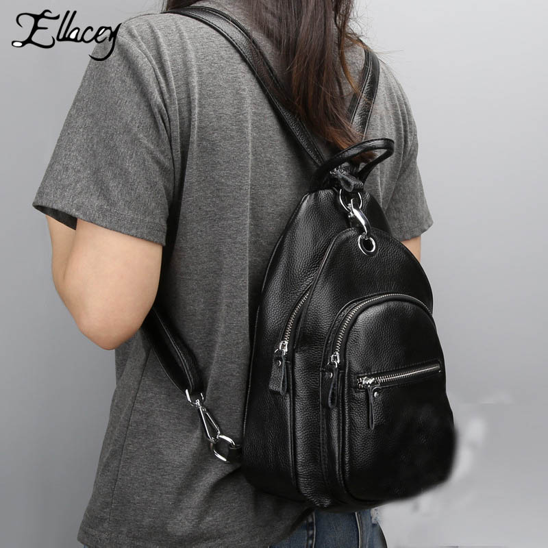 New 2017 Genuine Leather Women Backpack Zipper Travel Casual Real Leather Preppy Style Small School Bag Ladies Fashion Backpack women backpack new fashion casual pu leather ladies feminine backpack candy color korea school style solid student mini backpack