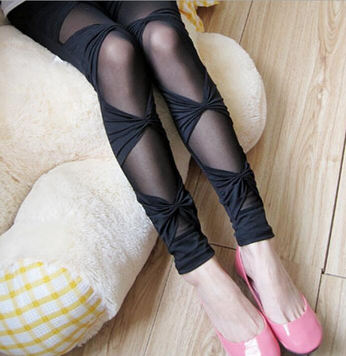 Women Sexy Mesh Patchwork Perspective Leggings Bow Tie Skinny Pencil Pants Gothic Punk Rock Breathable Leggins LG120 Брюки