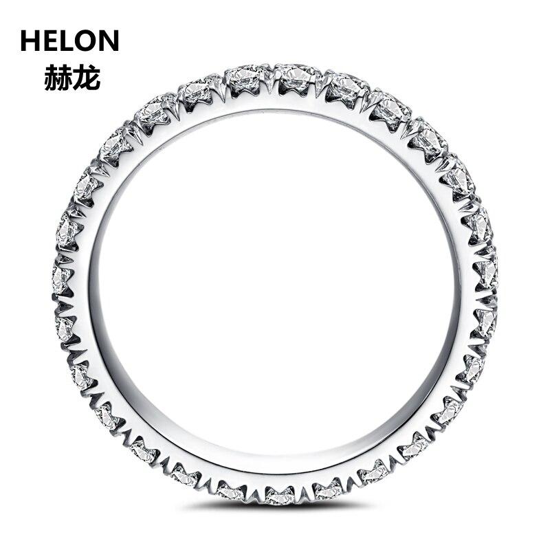 Moissanites кольцо Твердые 14 К Белое золото 1,9 мм ВВС/F G Лаборатория Grown Moissanites Diamond Обручение кольцо Для женщин Свадьба Вечность Группа