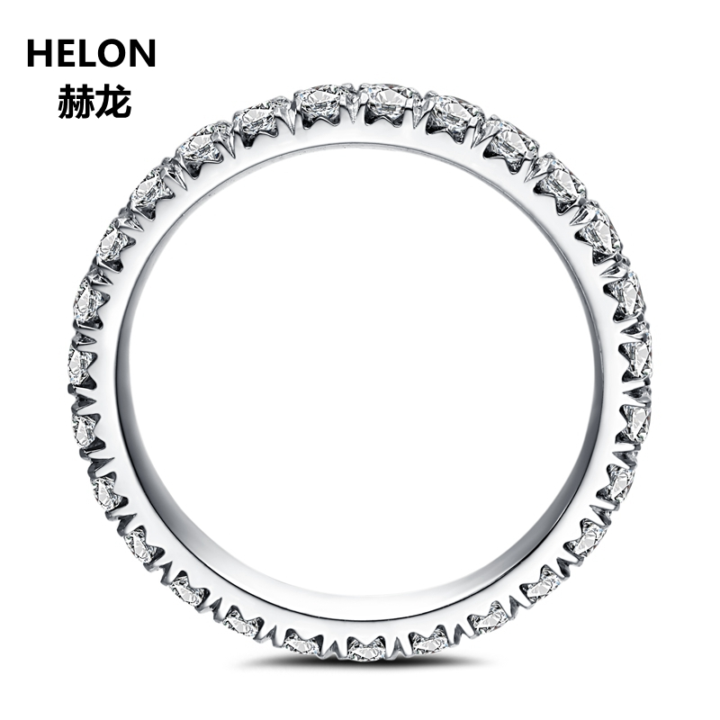 Moissanites Ring Solid 14K White Gold 1.9mm VVS/ F G Lab Grown Moissanites Diamond Engagement Ring Women Wedding Eternity Band