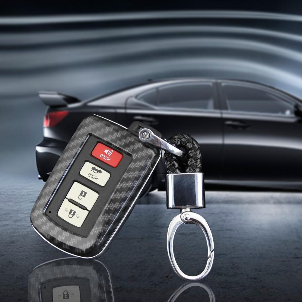 Car Key Shell Carbon Fiber Chain Fob Case Cover For Toyota RAV4 Camry Highlander Corolla Avalon Key case|Key Case for Car| |  - title=