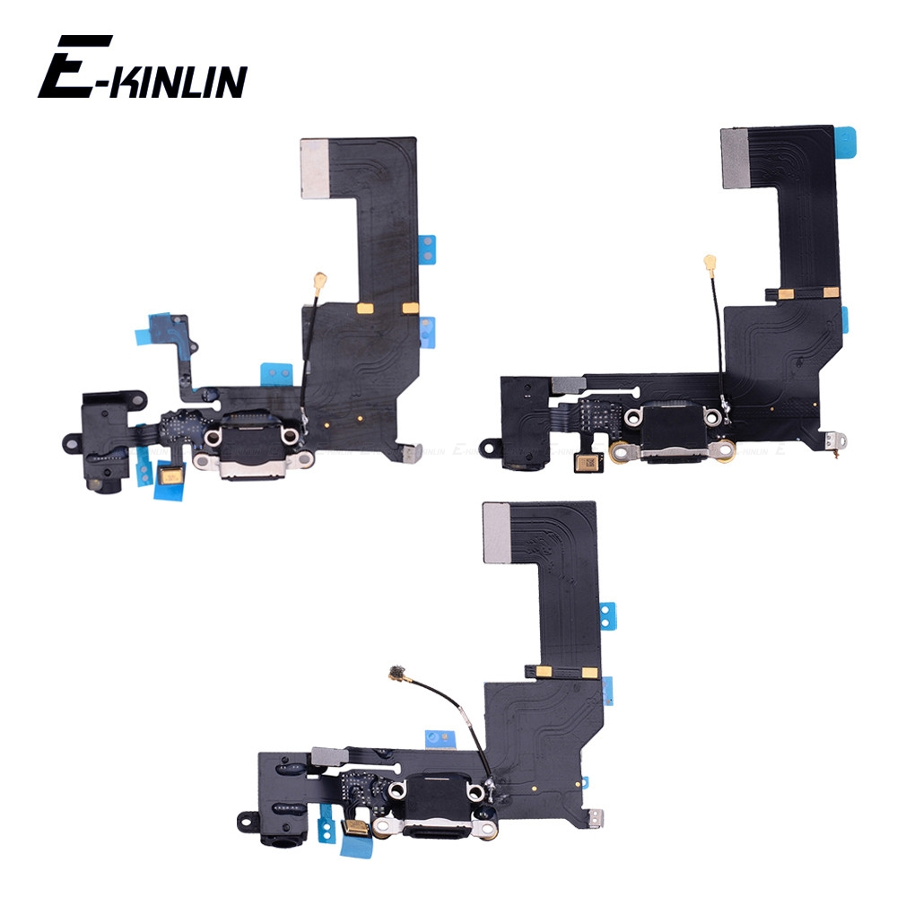 100% New USB Charger Power Port Dock <font><b>Connector</b></font> Plug Flex Cable With HeadPhone Jack For <font><b>iPhone</b></font> 4 4S 5 <font><b>5S</b></font> 5C SE RePlacement Parts image