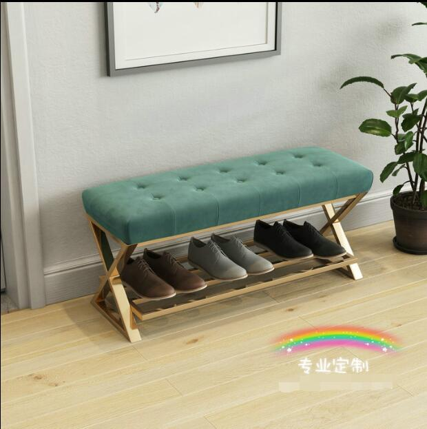 Nordic Simple Iron Art Small Sofa Changing Shoes Bench