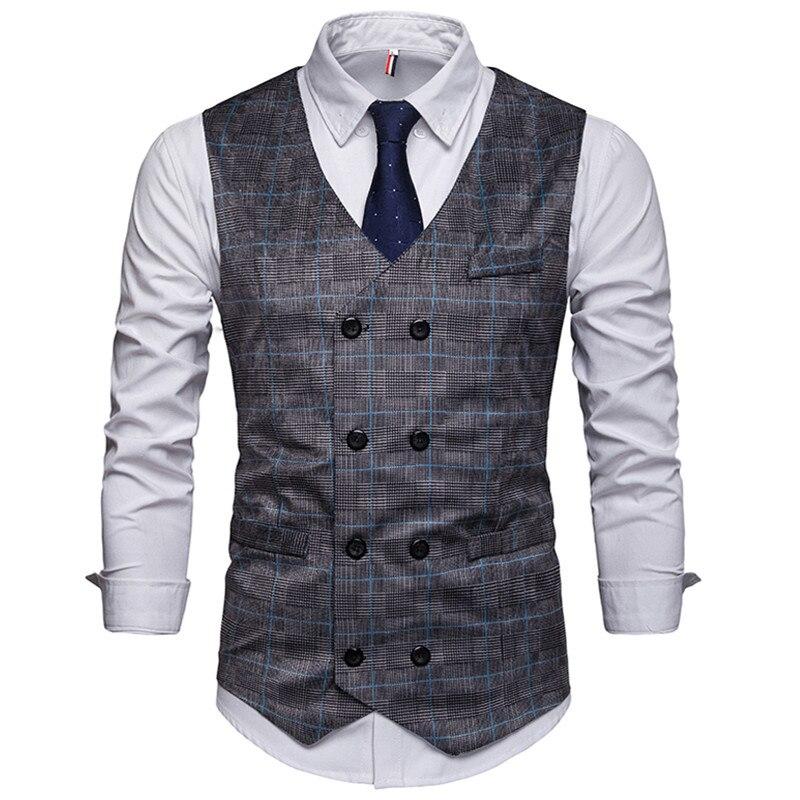 Men Plaid Suit Vest 2019 Classic Formal Business Double Breasted Slim Waistcoat Gilet Social Blazer Wedding Groom Vest Men XXL