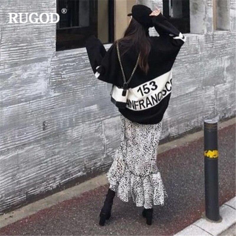 Pulls cou Pull Hiver Femmes Manches Tricoté Vêtements Tops À D'hiver Chandail blanc O Mode Noir Longues Rugod Femme Chauds Lettre 4Aqc5L3jR