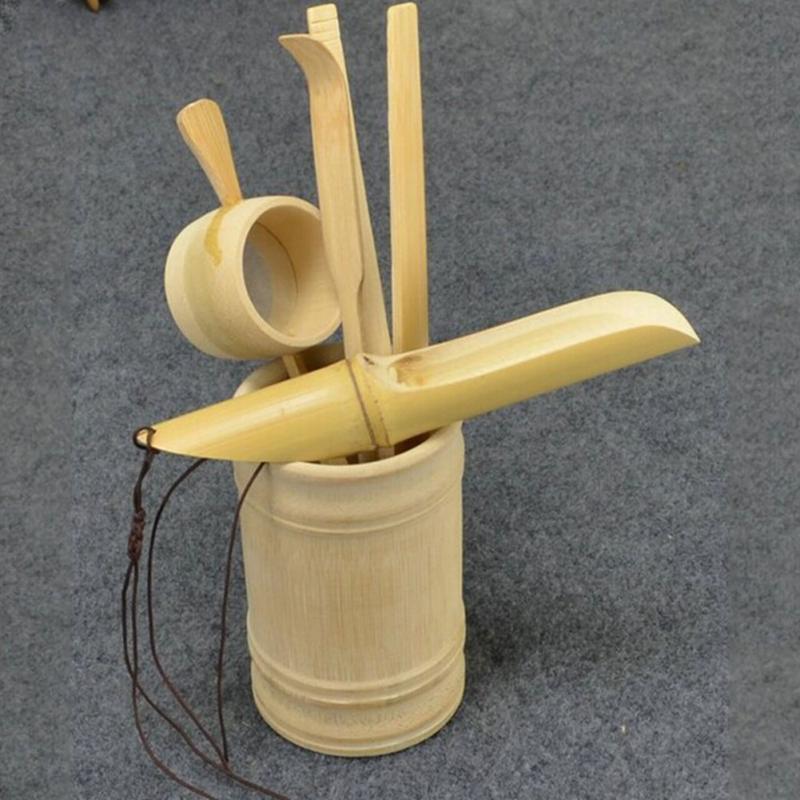 6Pcs Tea Ceremony Utensils Set Bamboo Teaspoon Needle Clip Strainer Tong Case
