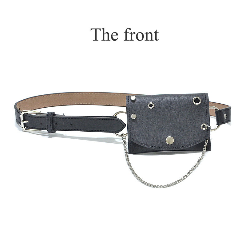 Women Fanny Pack Fashion Punk Style Lady Waist Bag Joker Metal Chain Decoration Belt Messenger Pursr Cool Bum Bags Wholesale 136