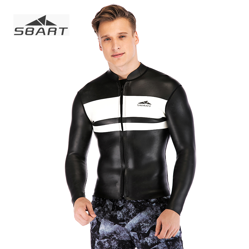 SBART 2019 New Arrival 3mm Black White Wetsuit Jacket Open Cell Neoprene Super Soft Leather Separated