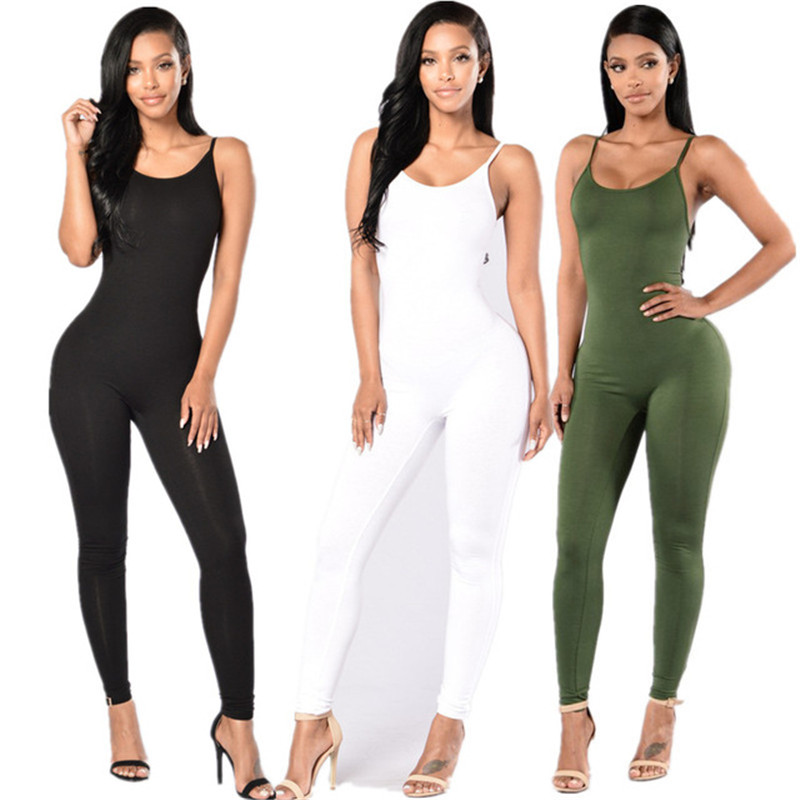 2019 New Summer Sleeveless Sexy Women Jumpsuits Black White Gray Slim O-Neck Rompers Beach Casual Femme Spaghetti Strap Jumpsuit