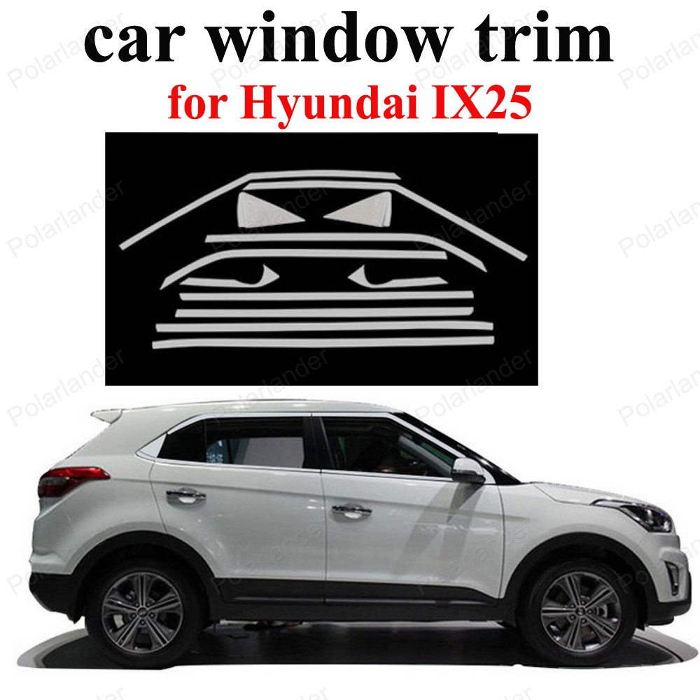 Car Styling Stainless Steel Exterior Accessories Decoration Strip For H Yundai Ix25 Window Trim