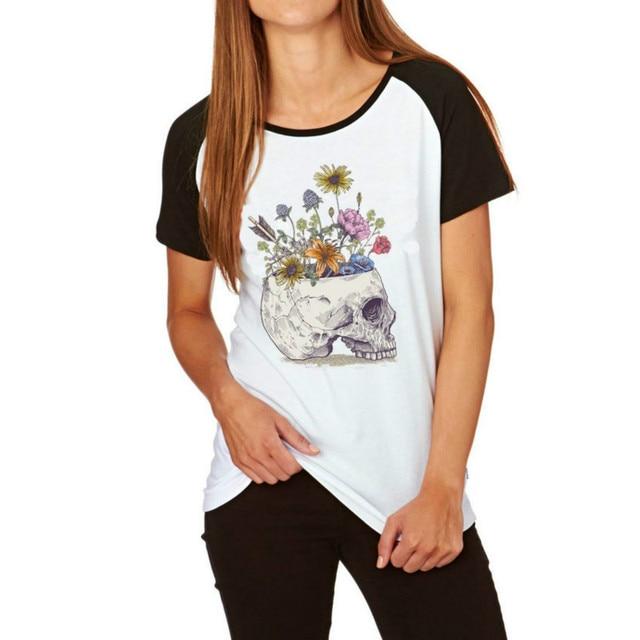 124736343d6c 851.76 руб. |Hzhtmy хорошее качество Женская Череп с цветочным принтом  футболки Тонкий ...