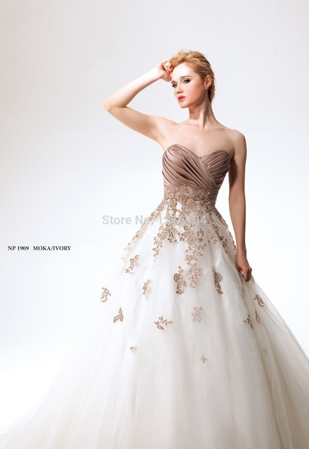 2016 White And Brown Vintage Colorful Wedding Dresses Two Tone Ball Gown Long Liquestulle Sweetheart Bridal