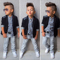 2016 New Boy Clothes Set 3 Pcs Children Clothing Set Black Outerwear+Plaid Shirt+Jeans Pants Kids Autumn Clothes