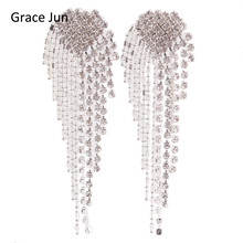Grace Jun New Arrival Big Heart  Shape Tassel Rhinestone Clip on Earrings No Pierced Charm Chandelier Jewelry No Hole Ear Clip