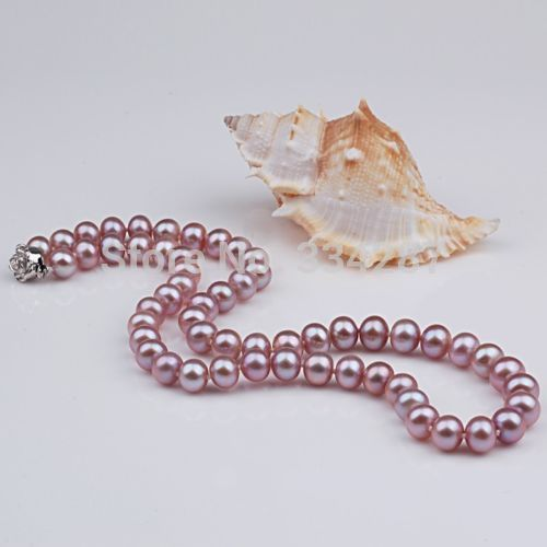 """100% Selling Picture full Natural AAA+ 7-8mm Purple Pearl necklace With Rose clasp 18"""" Long"""