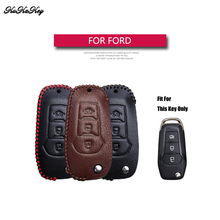 Genuine Leather Flip Folding Car Key Case Cover For Ford Focus 2 3 Fiesta Transit Ecosport Mondeo Kuga S-MAX EDGE Bag Shell