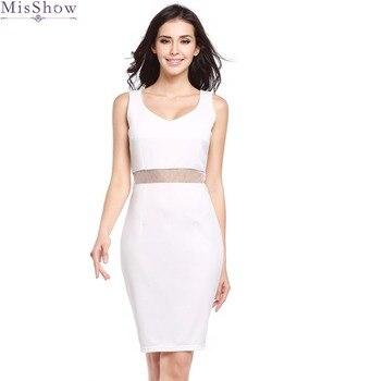 a5d39ed48cf9 Nuevo Vestido blanco sin mangas con cuello en V nuevo estilo Sexy lápiz  Vestido Sexy lápiz con malla cintura Vestido MisShow