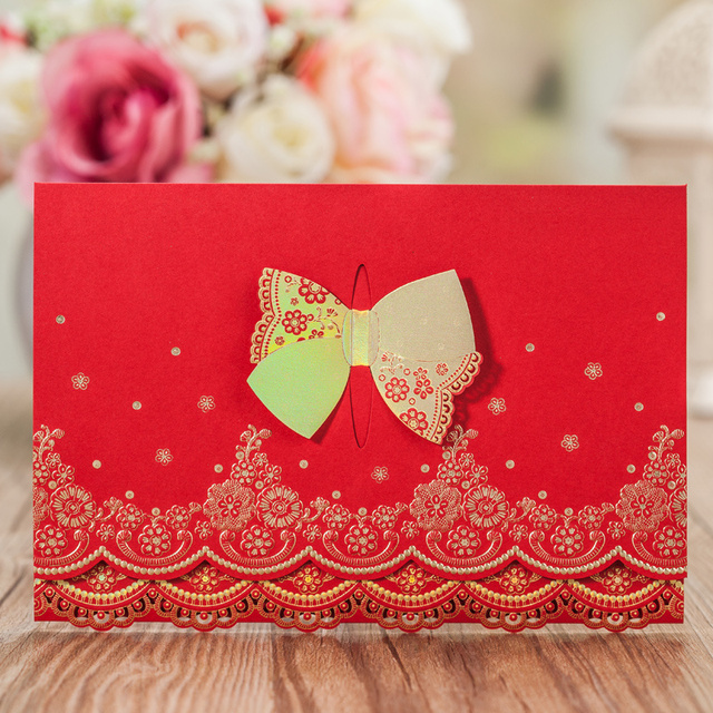 50 pcslot tri folding wedding invitation cards with gold butterfly 50 pcslot tri folding wedding invitation cards with gold butterfly lock design party stopboris Images