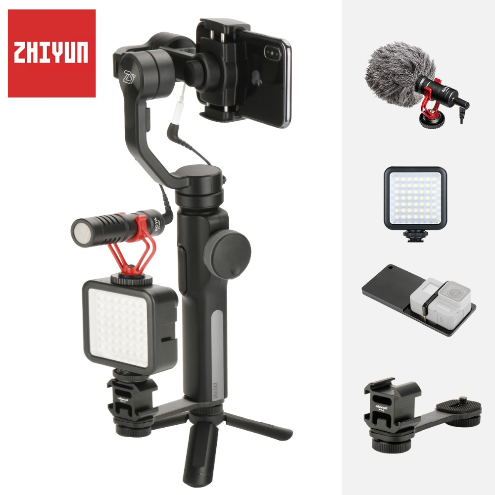 Zhiyun Smooth 4 3-Axis Gimbal for iPhone Xs Max with Counterweight Handheld Stabilizer for iPhone X 8 7 Plus Samsung S8 S9 S7 zhiyun smooth 4 3 axis handheld gimbal stabilizer for smartphone iphone x 8 7 6 6s plus samsung galaxy s9 s8 s7 action camera