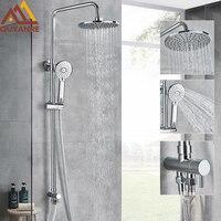 Quyanre Bathroom Shower Bathtub Shower Faucet Bath Faucet Mixer Tap With Handheld Shower Set Wall Mounted Slide Bar Shower Kit