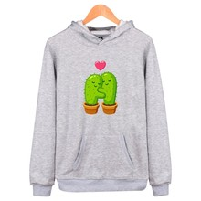 Cute Cactus Print harajuku Hip Hop moletom masculino funny Hoodie sweatshirt With Hat Men/Women Streetwear winter felpe sudadera