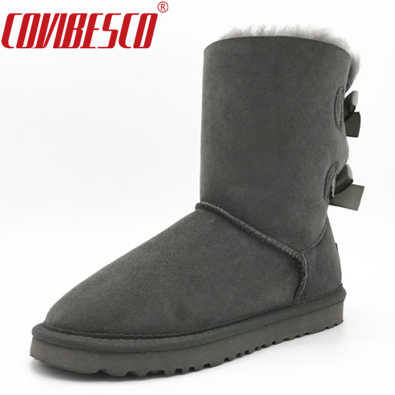 COVIBESCO Women Classic 100% Sheepskin Mid-calf Snow Boots Warm Winter Bowknot Sheep Fur Boots Flats Short Snow Boots Shoes double buckle cross straps mid calf boots