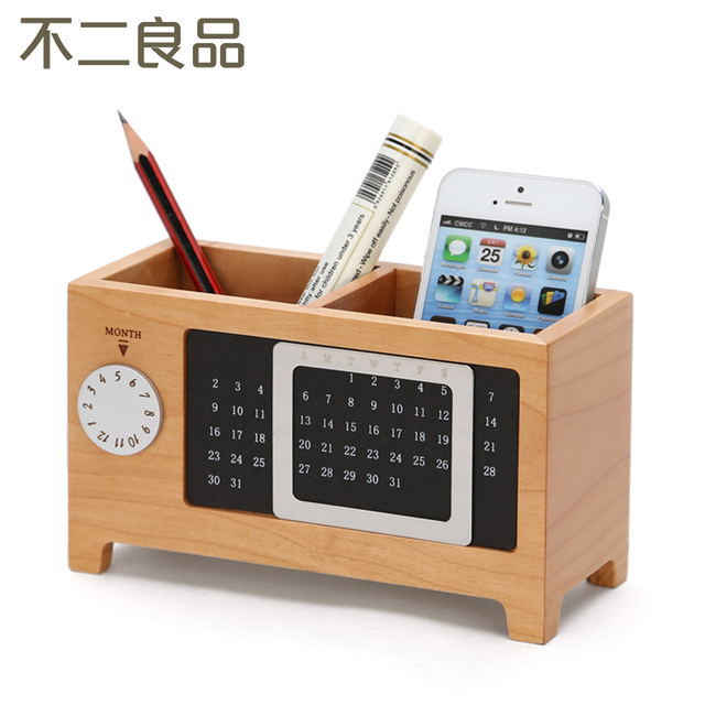 Wooden Pen Creative Fashion Office Supplies Stationery Desk Box Wood Cute Ornaments Accessories Holder