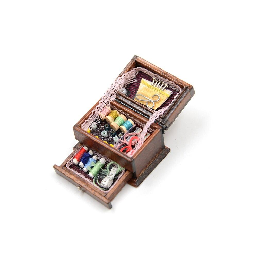 Cute 1pcs 1 12 Vintage Sewing Needlework Needle Kit Box Dollhouse Miniature Decor Kids Gift for