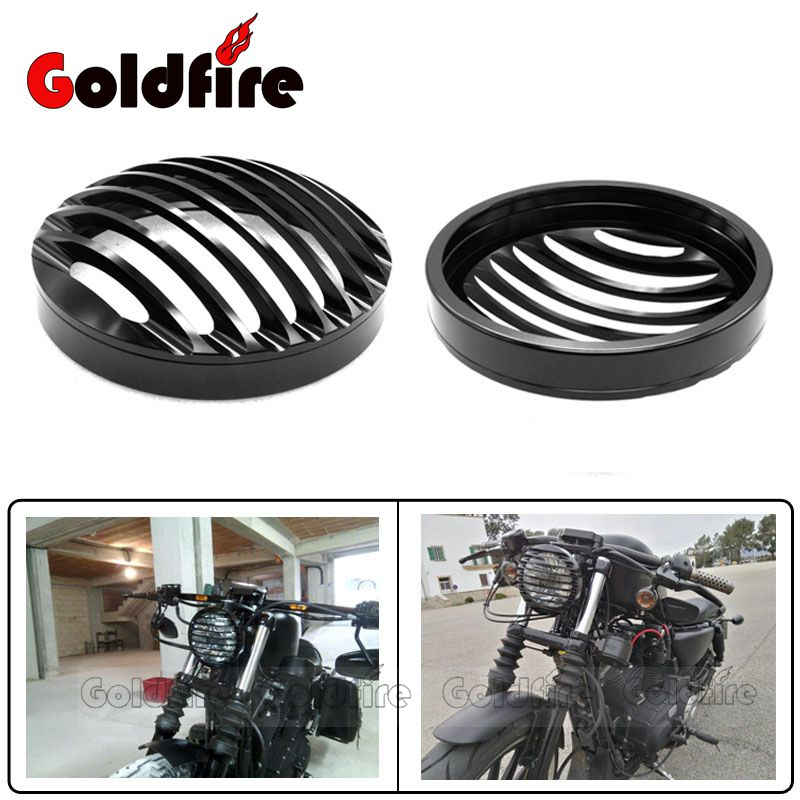 Black 5 3/4 Motorcycle Anodized Headlight Grill Cover Headlamp For Harley Sportster XL883 XL1200 2004-2014
