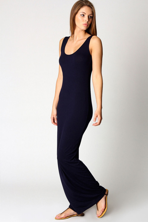 Black cotton racerback maxi dress