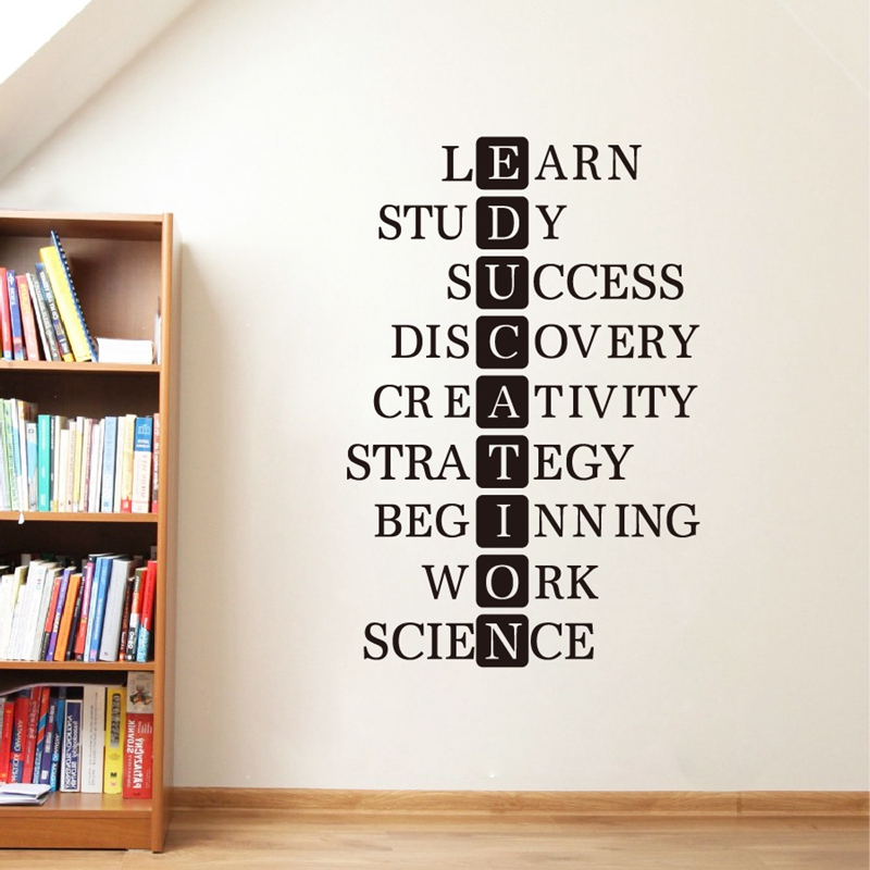 education learn study success motivational quote wall art decals