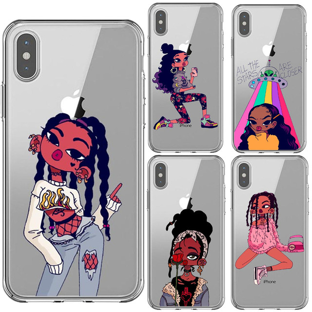 size 40 79788 a02a9 US $1.1 21% OFF|Black Girl Case For iPhone X XS MAX XR Afro Black Girl  Magic Melanin TPU Phone Cover For iPhone 5 5s SE 6 6SPlus 7 7Plus 8  8Plus-in ...