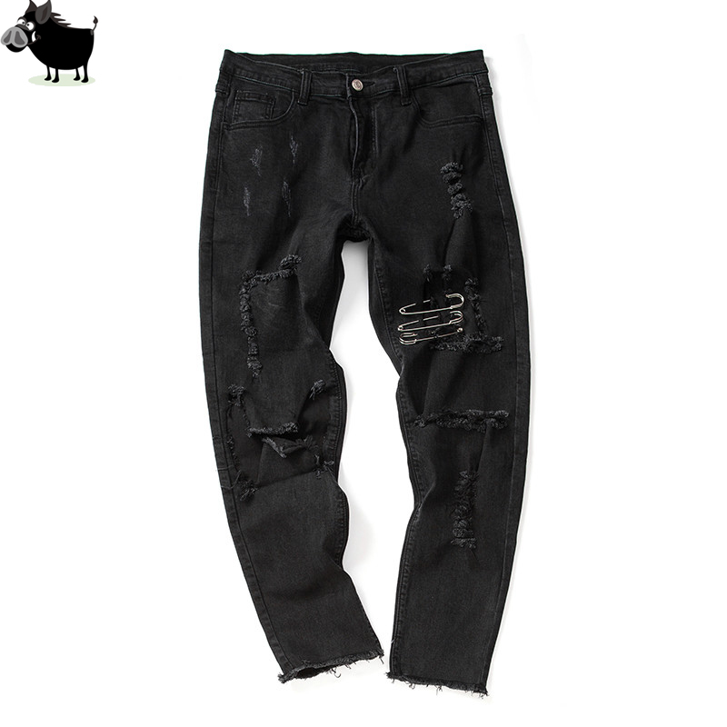 Man Si Tun New Men Biker Jeans Ripped Denim Pants Men Hip Hop Skinny Pure Color Casual Spring/Summer Big Holes Jeans Men Black new autum men black jeans skinny ripped stretch slim fashion hip hop swag man casual denim biker pants overalls jogger 22