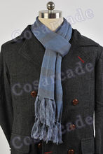 Sherlock Holmes Navy Blue Wool Muffler COSplay Prop Men Scarf Wrap with Tasseled Ends