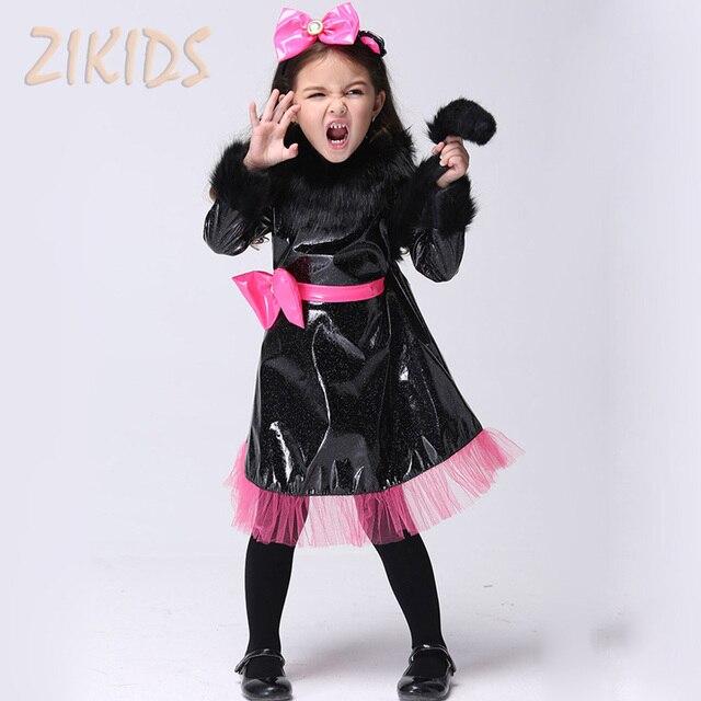 Gato Negro de Halloween Chica Cosplay Traje del Funcionamiento de Los Cabritos Que Arropan Las Muchachas de Baile Fiesta de Carnaval Trajes Vestido de novia (Vestido + Headwear)