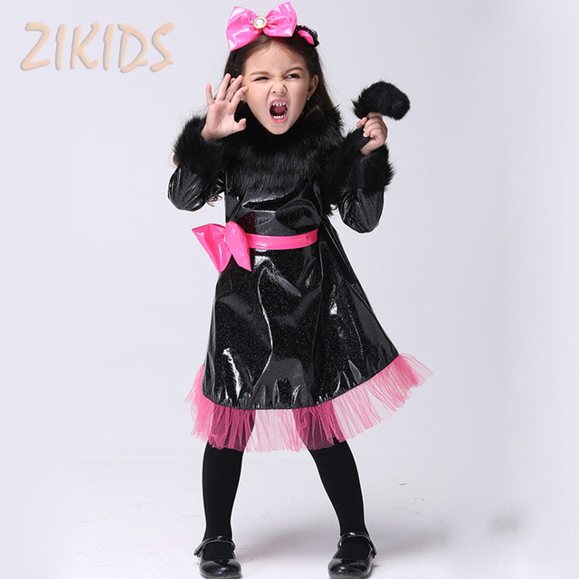 Halloween Black Cat Girl Cosplay Costume Kids Performance Clothing Sets Girls Carnival Party Dance Dress Suits (Dress+Headwear)