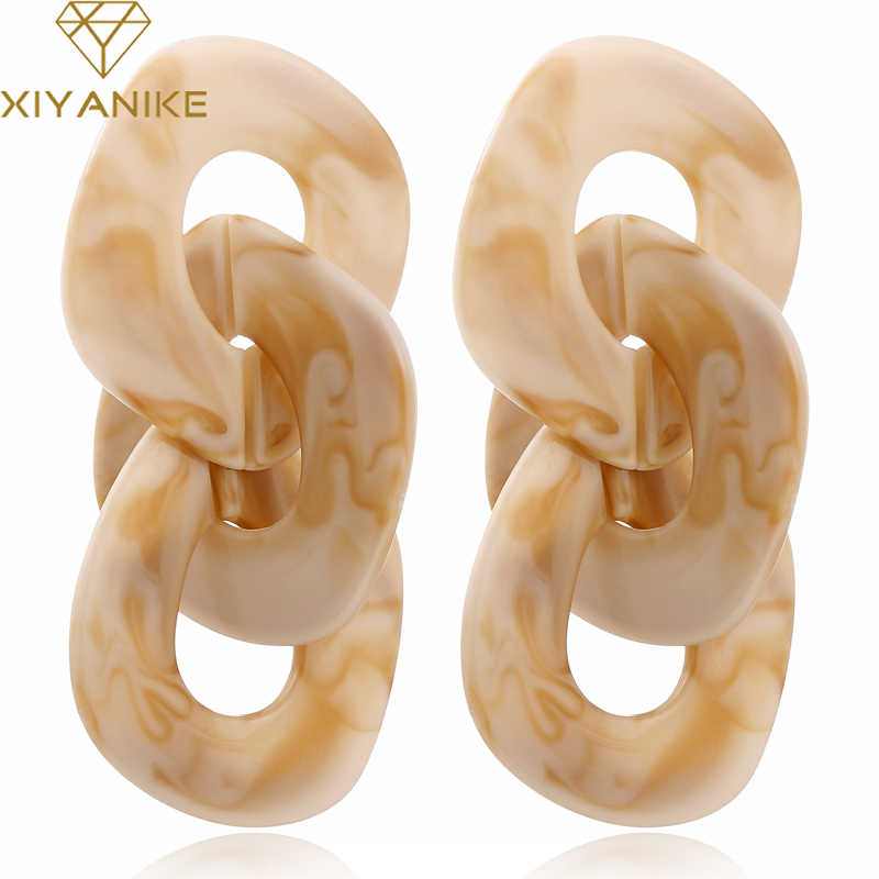 XIYANIKE New Trendy Acrylic Jewelry Exaggerated Geometric Earrings for Women Vintage Big Resin Long Drop Earrings Brincos E181