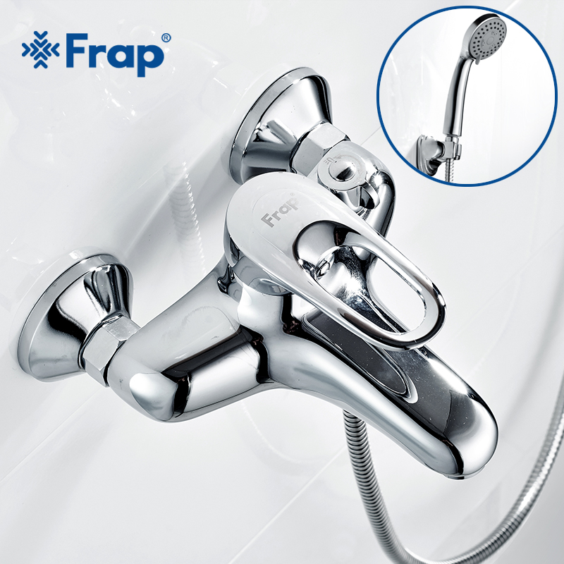 Frap Complete sets Silver Bathroom Shower Faucets Bathtub Faucet Mixer Tap With Hand Shower Sets Body Brass F3204 F3201 F3256
