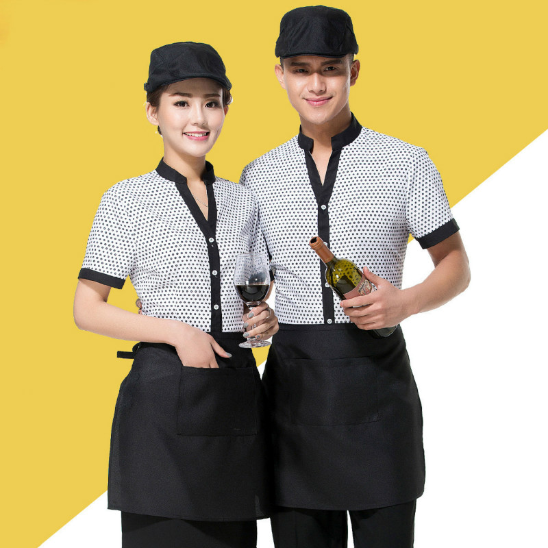 Women's Short Sleeves Waitress Uniforme Restaurant Coffee Hot Pot Susu Shop Overalls Catering Men's Waiter Work Clothes H2295