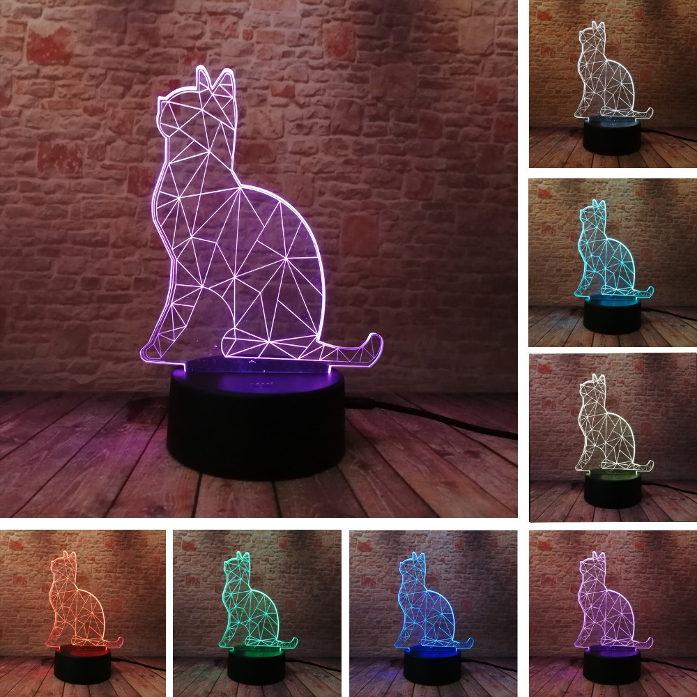 купить Hot 3D Benumbed Cat 7 Color Changing LED Night Light Illusion Desk Lamp Child Baby Bedroom Home Decor Best Friend & Holiday Gift по цене 534.8 рублей