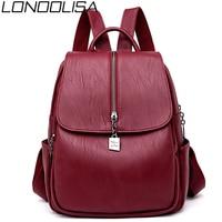 LONOOLISA Leather Luxury Backpack Female Travel Back Pack Bagpack Large Capacity Solid School Bags For Teenage Girls Sac A Dos
