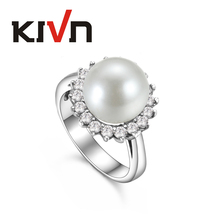 KIVN Jewelry Elegant Pave CZ Cubic Zirconia Wedding Bridal Engagement Simulated Pearl Rings for Women Birthday Christmas Gifts