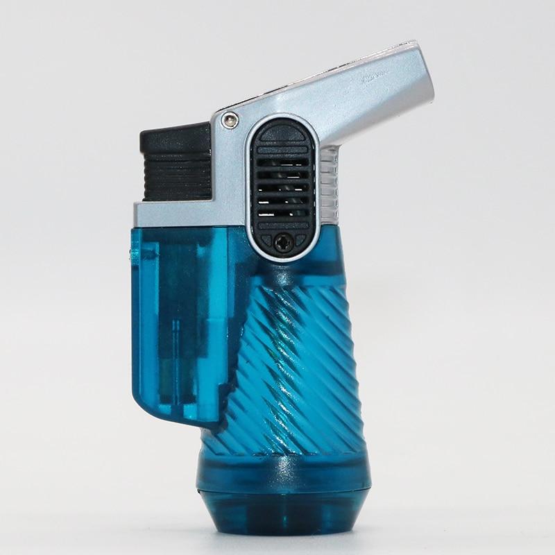Two Tube gas Lighter Blue Flame Spray Gun Electronic Lighter 1300C Butane Torch Turbo Lighter Cigar Cigarette Lighters Men Gift in Matches from Home Garden