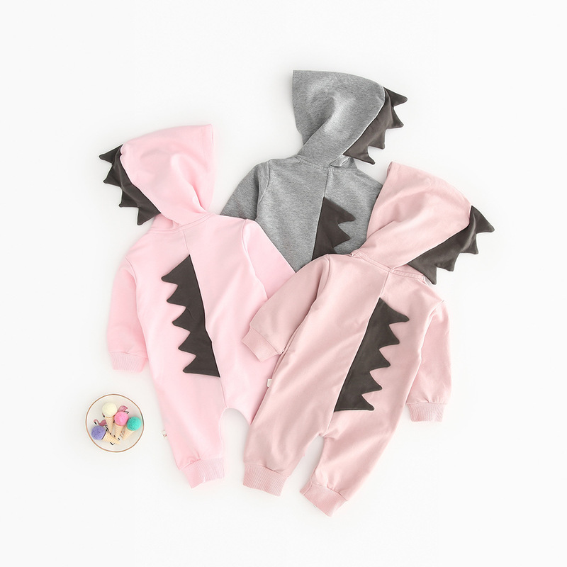 2019 baby cute autumn children clothes personality crocodile boy onesies hooded girls