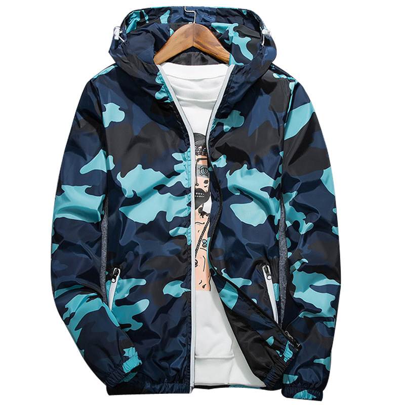Men 'S Spring Summer Hood Jackets Reflective Fashion Camouflage Waterproof Windbreaker Bomber Jacket New Style Camouflage Jacket