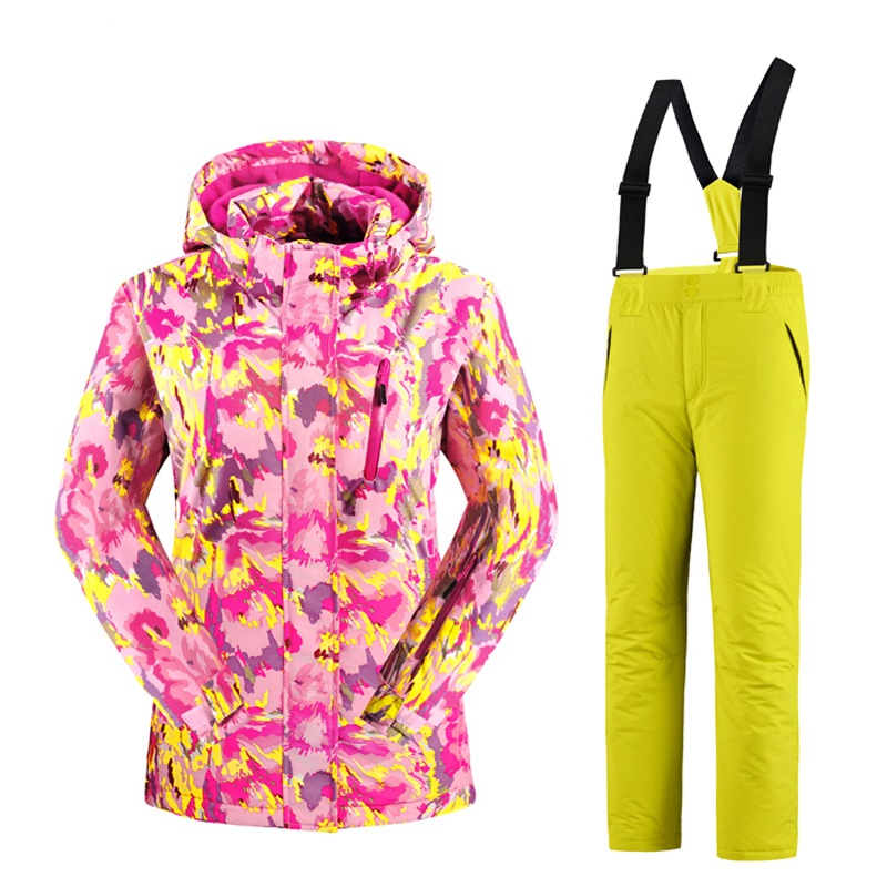 Waterproof Girls Ski Suit  Kids Camouflage Ski Jacket Ski Pants Windproof Snow  Jacket -30 Degree KL-7081