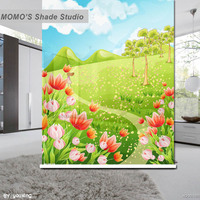 MOMO Blackout Baby Cartoon Window Curtains Roller Shades Blinds Thermal Insulated Fabric Custom Size, Alice 374
