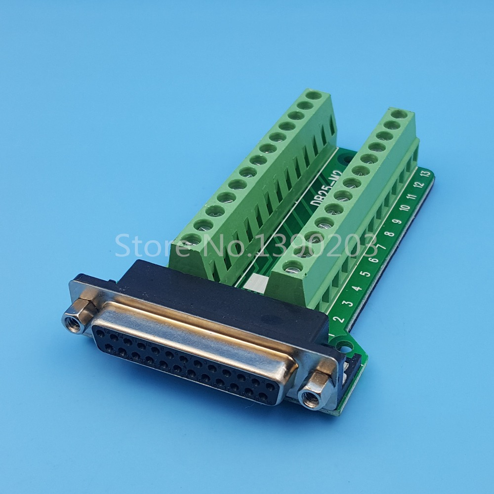 D-SUB DB25 Female  25Pin Plug Breakout PCB Board 2 Row Terminals Connectors hot factory direct wholesale idc40 male plug 40pin port header terminal breakout pcb board block 2 row screw