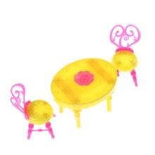 1 Juego de sillas de mesa Vintage para muñecas conjuntos de muebles de comedor juguetes para niño o niña para bebé rosa + amarillo