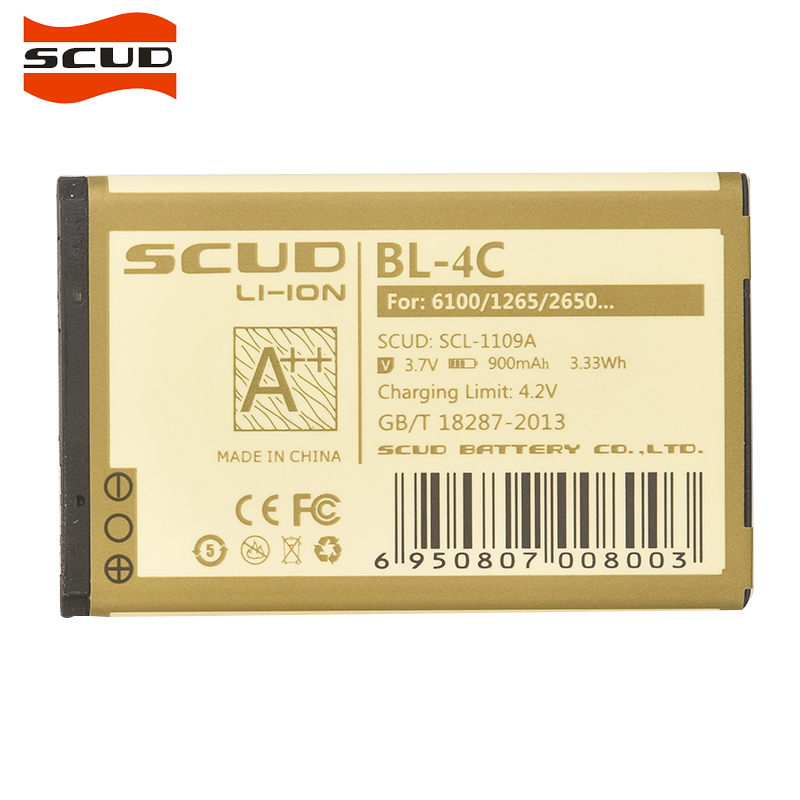 SCUD Bateria Do Telefone BL-4C Para Nokia 6100 6300 6125 6136 S 6170 6260 6301 7705 7200 8208 900 mAh BL4C bateria